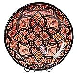 Orientalischer Keramik Teller handbemalt marokkanische Keramikschüssel Wandteller groß Color Rot