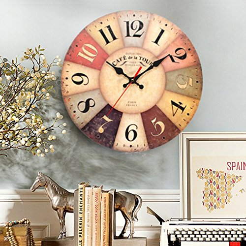 EsportsMJJ Art Wall Clock Round Wooden Quartz Movement Vintage Rustikal Dekor