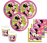 52 Teile Disney Minnie Happy in Pink Party Deko Basis Set - für 16 Kinder