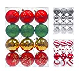 Shatterproof Christmas Tree Baubles Decorations Classic Xmas Trees Party Balls Ornaments 12 pcs by Art Beauty (80mm, Red Gold and Green) by KI Store