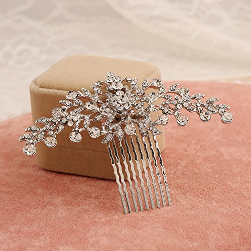 Contever Vintage Rose Golden Simulated Crystal Side Combs Bridal Headpiece Wedding Accessories by Contever -