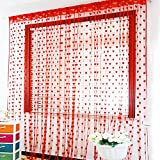 PINDIA Heart 2 Piece Polyester Thread Curtain - 6ft, Red