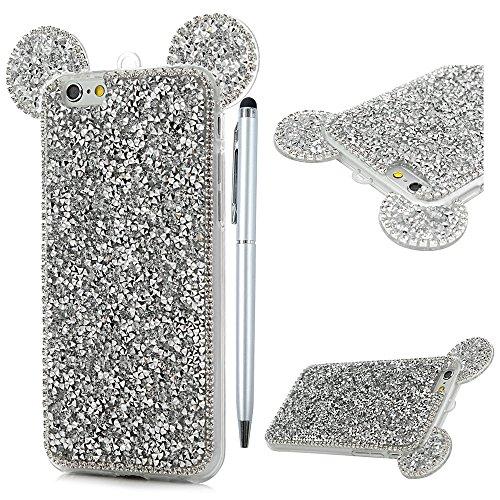 Badalink Hülle für iPhone 6 / iPhone 6S TPU Case mit Diamonds Buntes Silber Cover Ultraslim Handyhülle Schutzhülle Silikon Bumper Schutz Tasche Schale mit 1 * Eingabestifte und Lanyard Antikratz Backc Silber