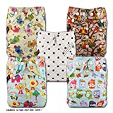 Littles & Bloomz, Reusable Pocket Cloth Nappy, Fastener: Popper, Set of 5, Patterns 526, Without Insert