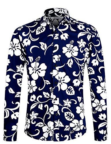 APTRO Fashion Herren Freizeit Baumwolle Mehrfarbig Blumen Langarm Shirt #1015 M