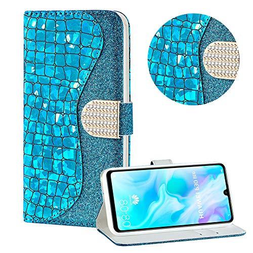 Diamant Brieftasche Hülle für Huawei P30 Lite,Blau Wallet Handyhülle für Huawei P30 Lite,Moiky Ultra Dünn Stilvoll Laser Glitzer Farbe Block Klappbar Stand Silikon Handytasche