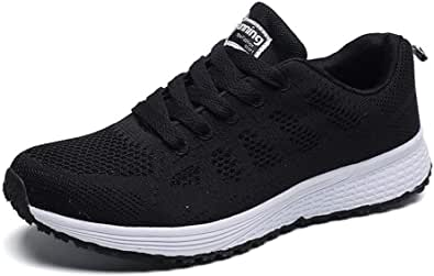 Womens Sneakers Lightweight Ladies Trainers Breathable Woman Running Shoes Daily Walking Outdoor Fitness Athletic Lace Up Flat Fitness Air Sports Shoes