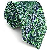 Shlax&Wing Herren Mode Seide Krawatte Grün Paisley Extra lang