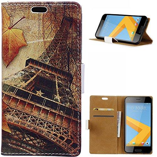 KM-WEN® Schutzhülle für HTC One A9S (5 Zoll) Bookstyle Ahornblatt und Dem Eiffelturm Muster Magnetverschluss PU Leder Wallet Case Flip Cover Hülle Tasche Schutzhülle mit Standfunktion Kartenfächer für HTC One A9S (5 Zoll) Farbe-1