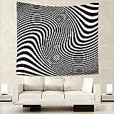 Tapisserie, Hippie Tapisserie, Dekoration Wandbehang, Twin Size Bettwäsche Tagesdecke,Schwarz-Weiß-Spirale Streifenmuster Wandteppich, 150x130cm