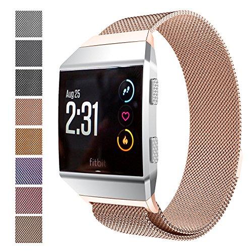 Fitbit Ionic Armband, Milanaise Edelstahl Replacement Wrist Strap Uhrenarmband mit Einzigartige Magnet-Verschluss für Fitbit Ionic, Rosegold (Größe S)