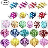 24pcs palloncini dolci caramelle per feste di compleanno, inclusi palloncini lecca-lecca rotondi 16pz e palloncini lecca-lecca caramelle 8pz.