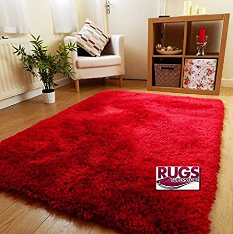 NEW THICK SILKY SOFT HAND TUFTED SHAGGY RUG HIGH QUALITY 6CM PILE (60X120CM) (RED)