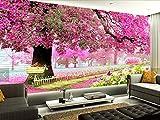 Kuamai Benutzerdefinierte Foto Tapete 3 D Kirschbaum Hintergrundbild Für Wohnzimmer Tv Schlafzimmer Wand Hintergrund Wand Wasserdichte Tapete-200X140Cm
