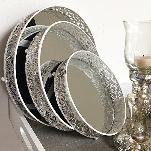 Plateaux ronds blancs avec miroir (fond) style shabby/maison de campagne, Métal, Weiß, 20 cm