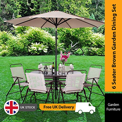 6 Seater Metal Garden Furniture 6 seater garden table and chairs amazon billyoh express 6 seater rectangular metal garden furniture set brown workwithnaturefo