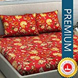 Divine Casa 100% Cotton 180 TC Floral Double Bedsheet with 2 Pillow Covers, Orange