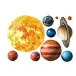 CHengQiSM Planet Wall Decals, Wallpaper Decorations Removable Solar System Watercolor Space Wall Stickers for Home...