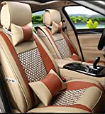 RUIRUI Auto-Sitzbezug-Kissen, Universal-vordere hintere Auto-Sitzkissen-Abdeckung 10pcs volles gesetztes PU-Leder , brown