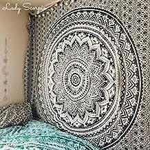 Mandala RaaJsee exclusivo de fabricación artesanal, de plumas de pavo real, estilo boho, bohemio, como tapiz para colgar en la pared, para el dormitorio, como colcha, estilo hippie (BS104)