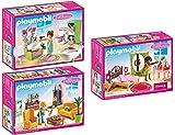 PLAYMOBIL® Puppenhaus Möbelset: 5307 Romantik-Bad + 5308 Wohnzimmer + 5309 Schlafzimmer