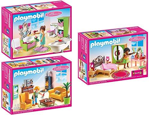 PLAYMOBIL Puppenhaus Möbelset: 5307 Romantik-Bad + 5308 Wohnzimmer + 5309 Schlafzimmer
