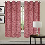 #10: Linenwalas Heavy Cotton Floral Print Italian Design Yarn Dyed Window Curtains (set of 2 pcs) - Maroon & Pink - 4.5x5ft