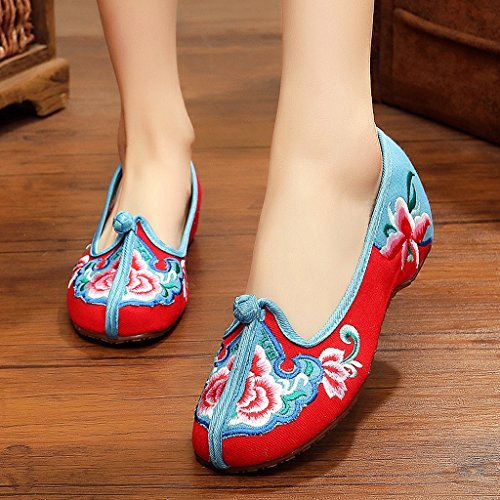 Frauen bestickte Schuhe National Style Tanzschuhe ( Farbe : Rot , größe : US:5\UK:4\EUR:35 )