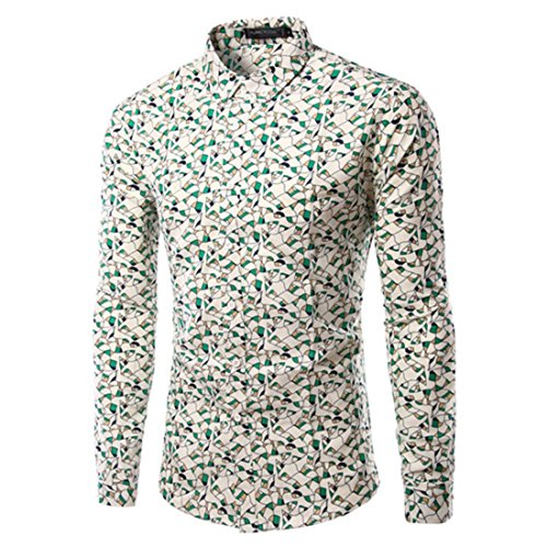 Men's Leaf Printed Cotton Slim Fit Long Sleeve Casual Shirts TU217 Green