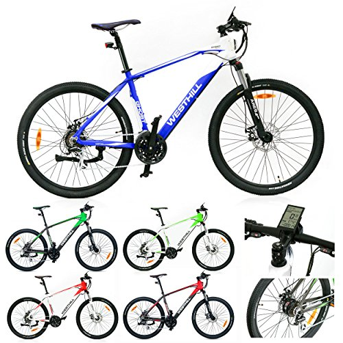 West Hill GHOST Electric Mountain Bike - 36 VOLT Li-ion SAMSUNG Battery - On Board Computer (Blue & White)