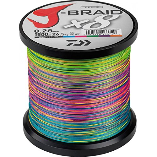 Daiwa J-Braid X8 0.13mm, 8,0kg/18lbs, 1500m multi colour - geflochtene Angelschnur