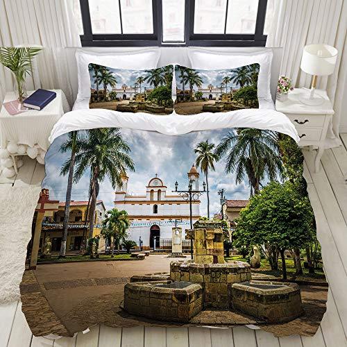 FOURFOOL Bedding Bettwäsche-Set,Reise durch die Maya-Stadt mit Palmen Print,Mikrofaser Bettbezug und Kissenbezug - (135 x 200 cm)