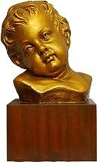 Arte Sacra di Claudio Riso–Büste von Jesus Kind in terracotta handbemalt und Basis aus Holz