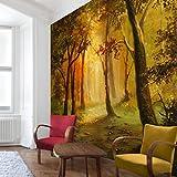 Apalis Waldtapete Vliestapete Gemälde einer Waldlichtung Fototapete Wald Quadrat | Vlies Tapete Wandtapete Wandbild Foto 3D Fototapete für Schlafzimmer Wohnzimmer Küche | Größe: 192x192 cm, gelb, 97688