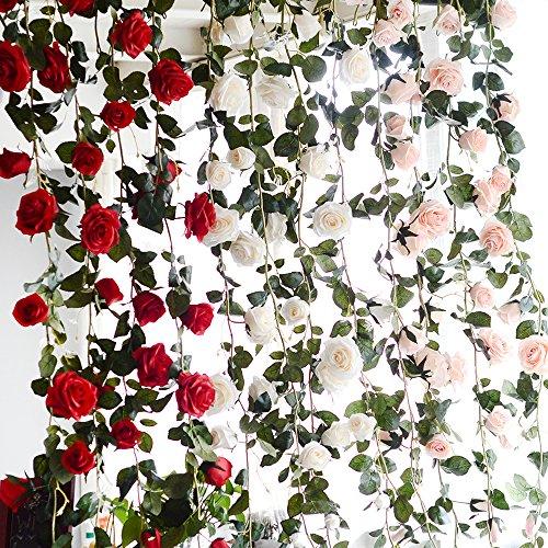 Cgboom fiori artificiali ghirlanda di fiori rosa 3 pezzi, craft art decor artificiale di rose per matrimonio la casa ed il giardino 1,8 m