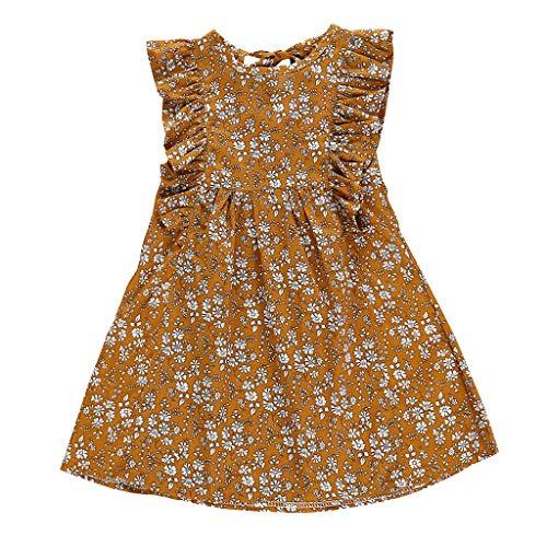 TOPKEAL Mädchen Kleider Sommer Kinder Kleid Kleinkind Kinder Baby Mädchen Rüschen Blumendruck Freizeitkleid Sommerkleid Sommer (Gelb, 110)