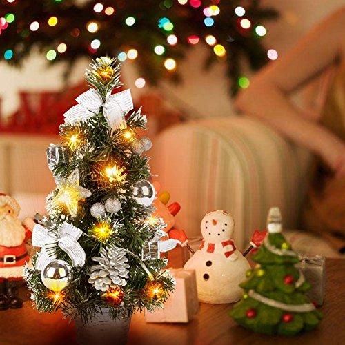 (PowerBH LED leuchtet Künstliche Tischplatte Mini Weihnachtsbaum Handwerk Im Topf Mit Kugeln Dekorationen Für Büro Kinderzimmer Deco Silber)