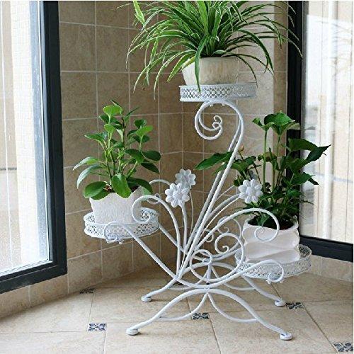 Schmiedeeisen Beistelltisch (AISHN Blumenstander fur 3 Blumentopfe, 3 Etagen, geschwungenes, dekoratives Design, Metall, Garten/Terrasse)