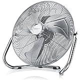 Brandson Windmaschine / Retro-Stil Ventilator in Chrom | Standventilator 38cm | Tischventilator / Bodenventilator | hoher Luftdurchsatz | robuster Stand | stufenlos neigbarer Ventilatorkopf | stabiles