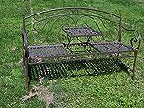 Unbekannt VARILANDO® Metall-Gartenbank Susan im verspielten Antik-Look mit klappbarem Tisch Sitzbank Metallbank