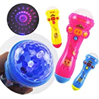 Eachbid Light Flashing Projection LED Toy Microphone Torch Shape Baby Kids Children Gift