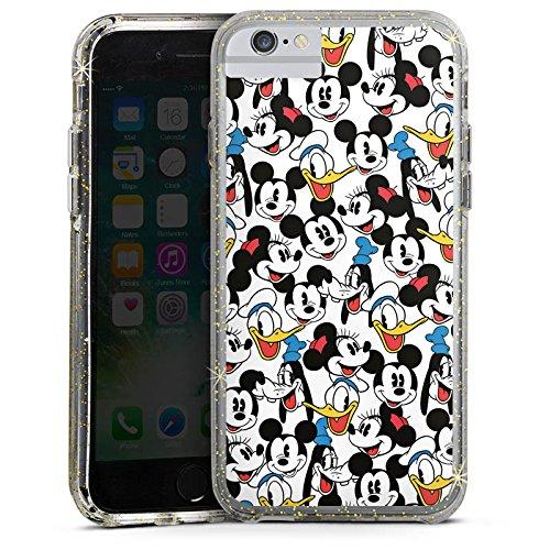 Apple iPhone 7 Bumper Hülle Bumper Case Glitzer Hülle Disney Mickey Mouse Goofy Donald Duck Minnie Mouse Fanartikel Geschenke Bumper Case Glitzer gold