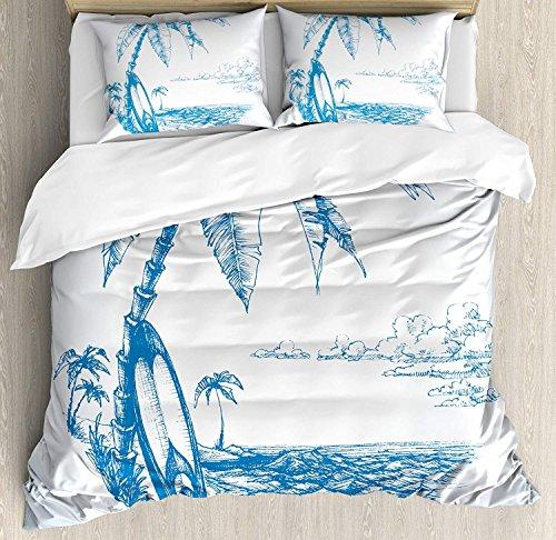 Anzona Surf Bettbezug Set, Modernes Sketch Illustration Hawaiian Strand mit Surfbrett Palmen und Ocean Water, Deko 4Bettwäsche-Set, Blau, Weiß Twin Size Mehrfarbig -