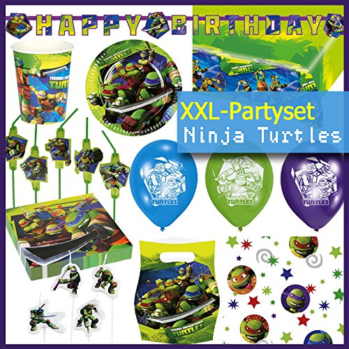 65 Pièces motif tortues hero turtles assiettes, gobelets, serviettes, procos nappe de table, cartes d'invitation, sacs de fête, pailles, ballons, confettis de décoration