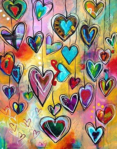 kit mosaico corazones coloridos piedras cuentas de cristal puzzle cristales multicolor para manualidades, regalos, cuadros, relax, terapias relajantes. antistress regalo de 40 x 50 cm. de OPEN BUY