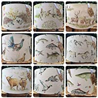 Custom made Voyage Country lampshade any Voyage fabric Moorland Stag Highland Cattle Boxing Hares Hedgehog Fish etc Choice of size