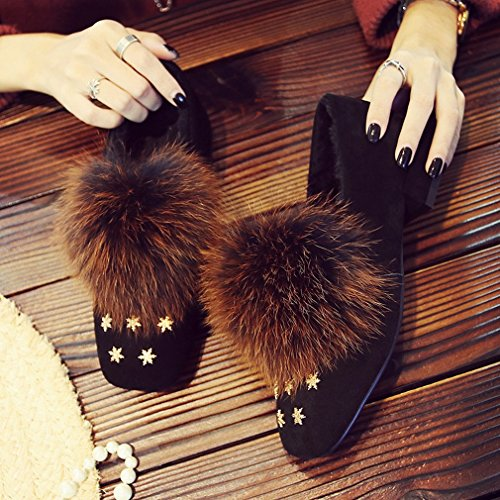 Moda Autunno e Inverno Più Pelliccia Di Cashmere con Scarpe Basse con Scarpe Pigre Scarpe Quadrate Moda Scarpe Invernali B