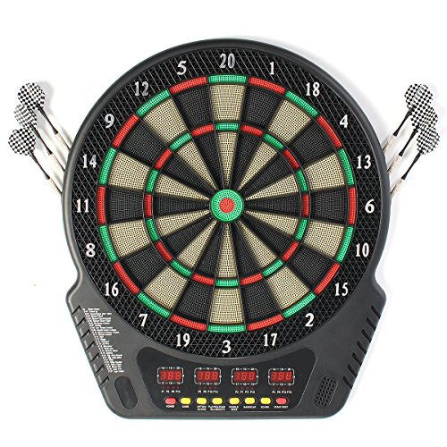 HELEISH 18 Zoll Professionelle elektronische Dartscheibe Bullseye 4 LED-Anzeige 243 Wiedergabemethoden Zubehörwerkzeug