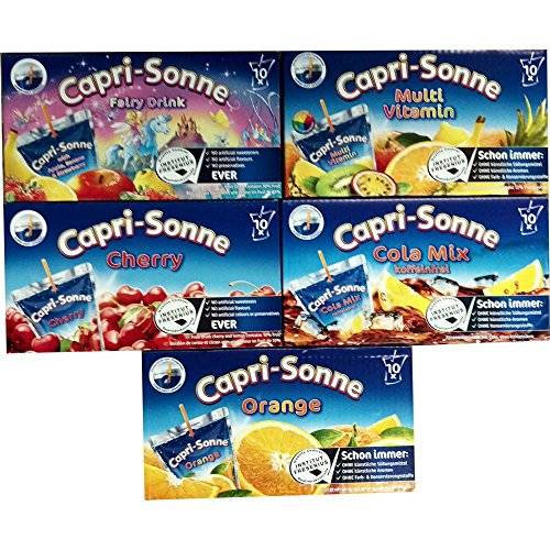 Capri Sonne Mixpaket 50 x 200ml Packung (je 10x Kirsche, Cola Mix, Multivitamin, Orange & Elfentrank [Banane, Apfel, Zitrone & Erdbeere])