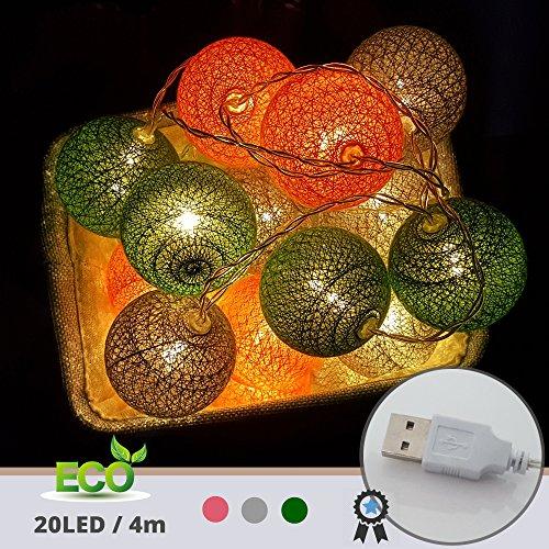 LED Lichterkette mit Kugeln, Morbuy 6CM Baumwollkugeln Mit 20 Bällen 4M USB Deko Licht Festlich Hochzeiten Geburtstag Party Cotton Ball Themen Weihnachten Lichterkette Dekorative (Lichter der Stadt)